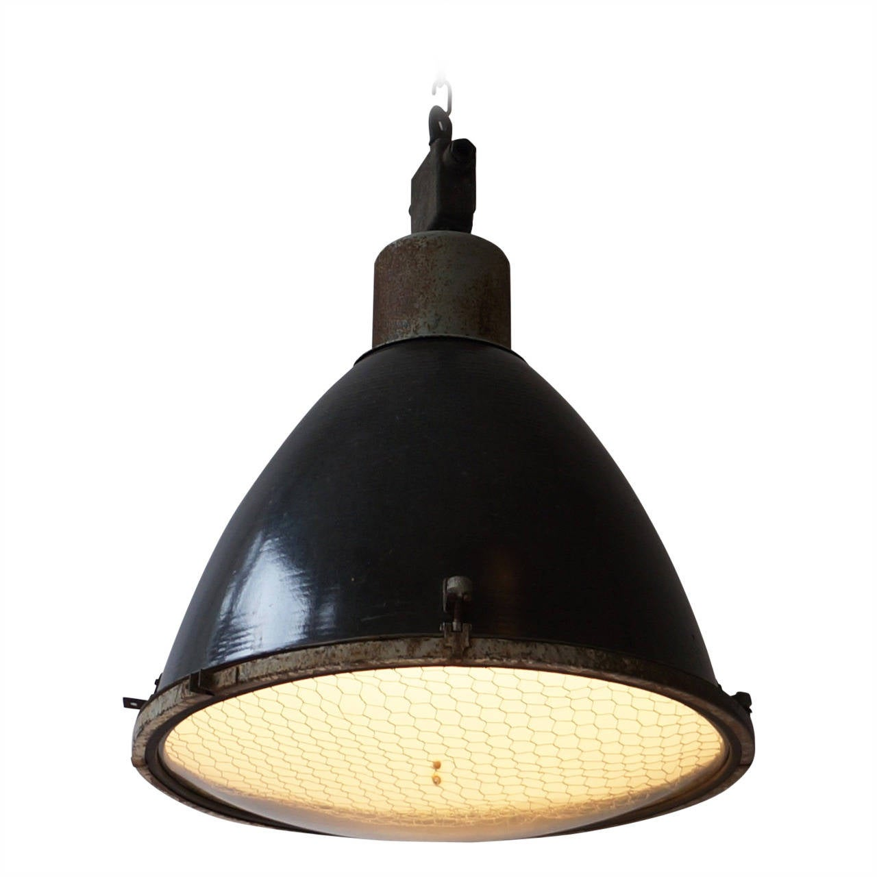 Large french industrial pendant light at 1stdibs for Industrial bulb pendant
