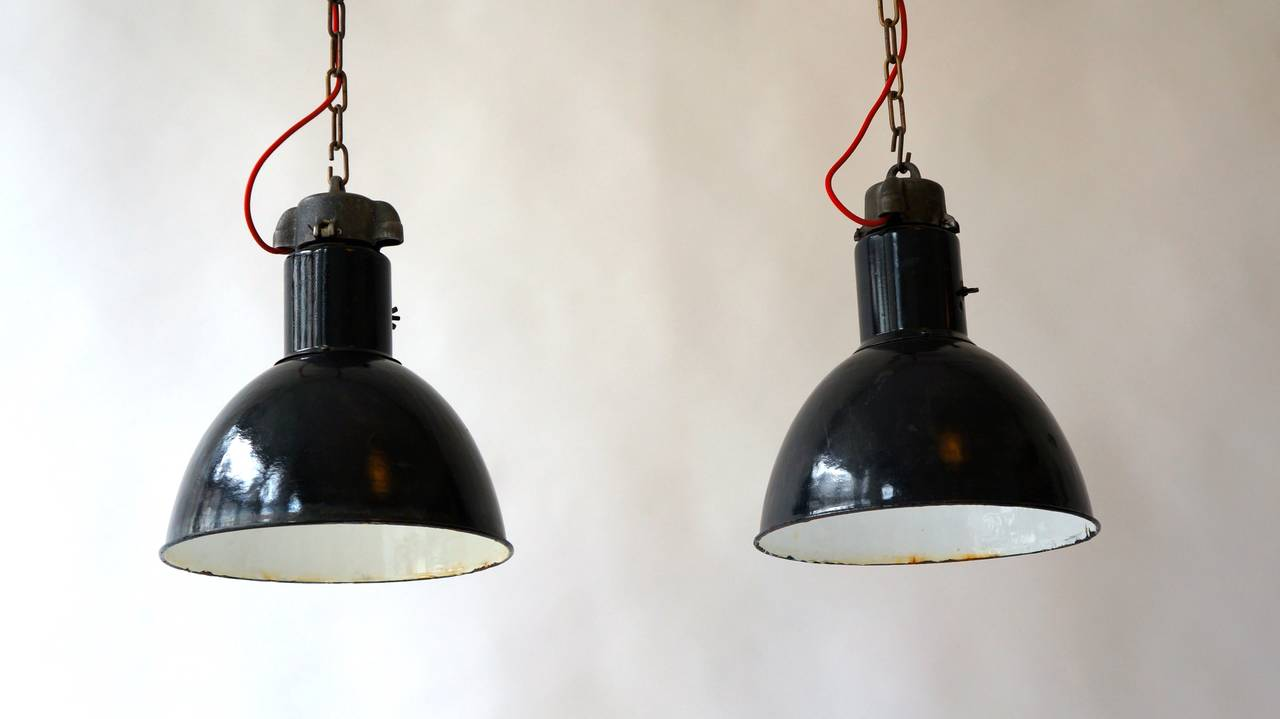 Mid-Century Modern Pair of Industrial Pendant Lights For Sale