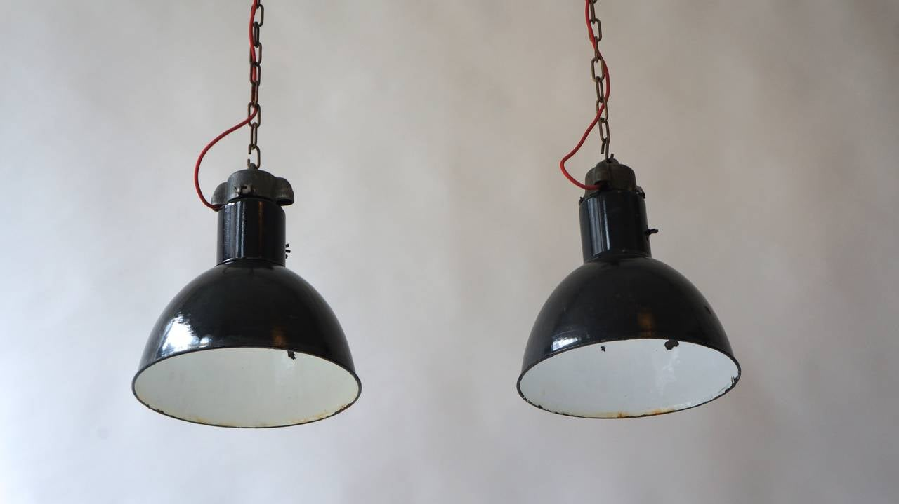 Polish Pair of Industrial Pendant Lights For Sale