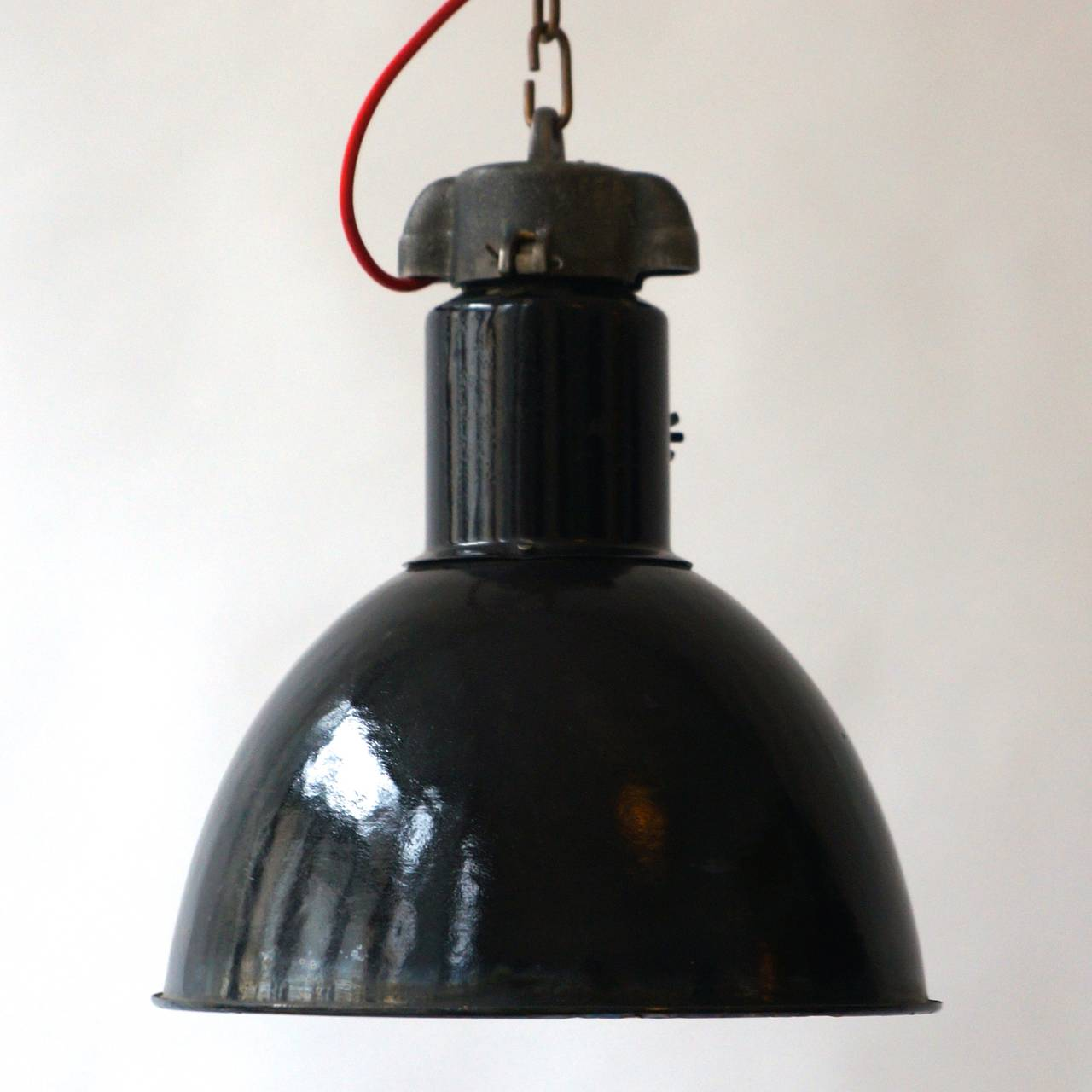 Enamel Pair of Industrial Pendant Lights For Sale