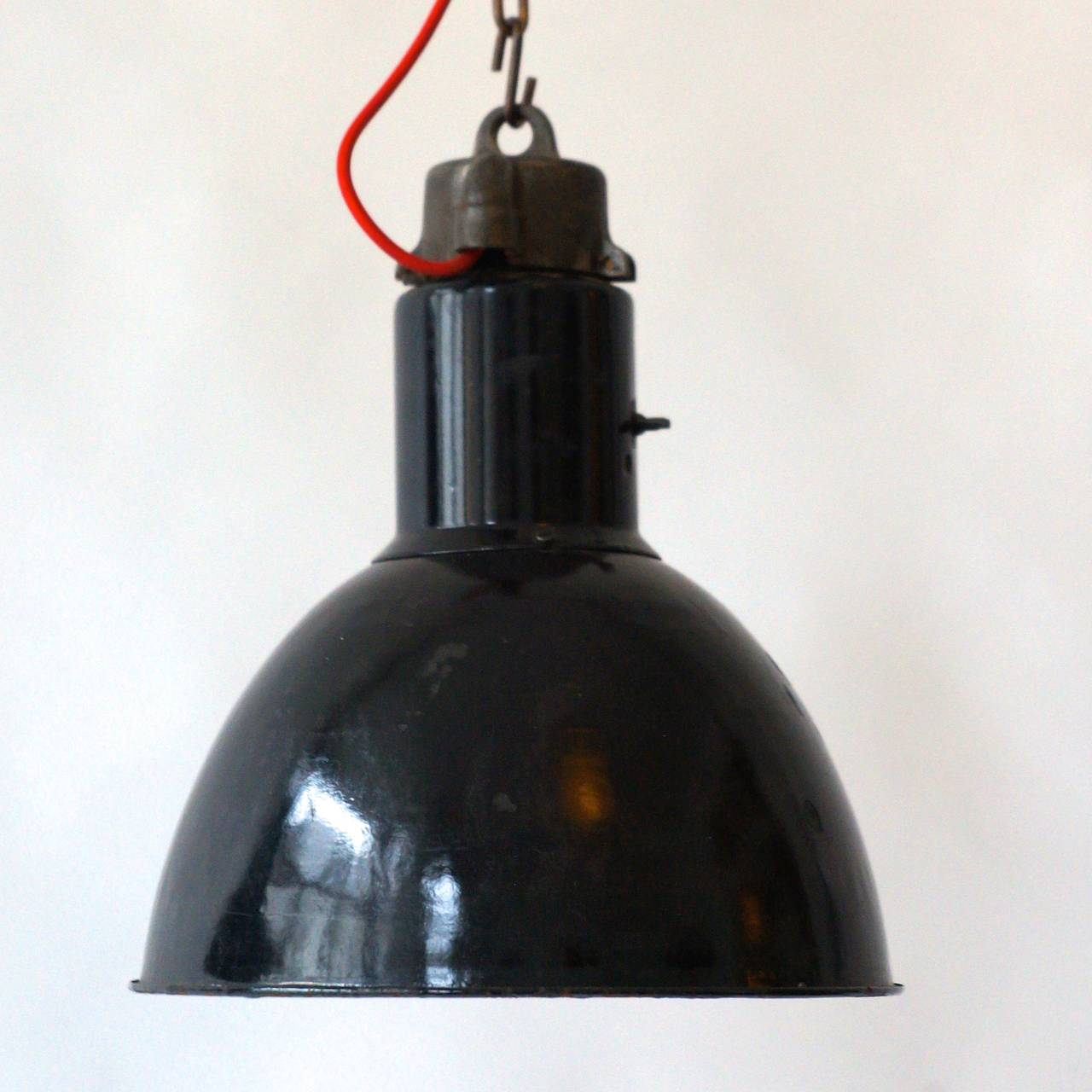 Pair of Industrial Pendant Lights For Sale 1