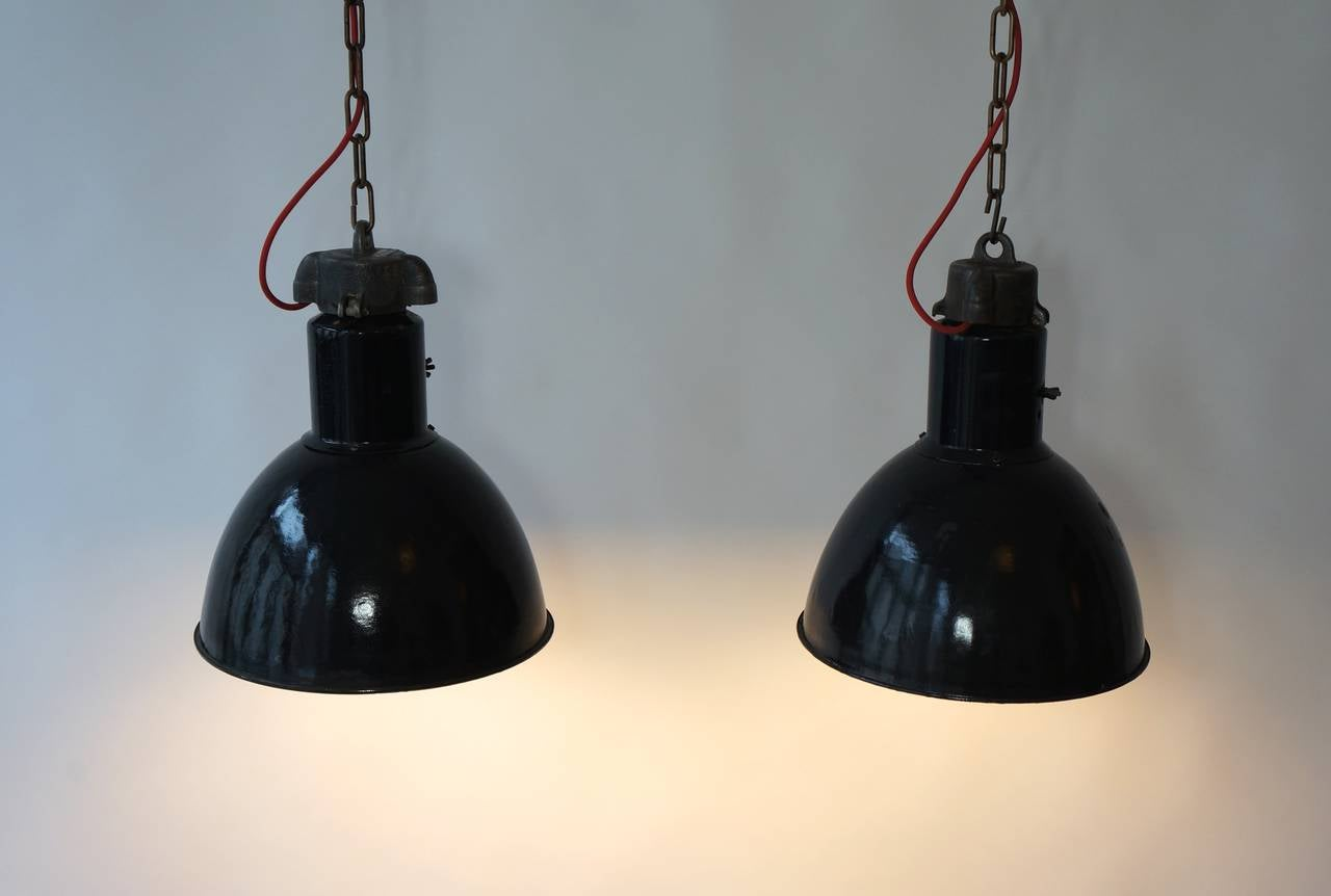 20th Century Pair of Industrial Pendant Lights For Sale