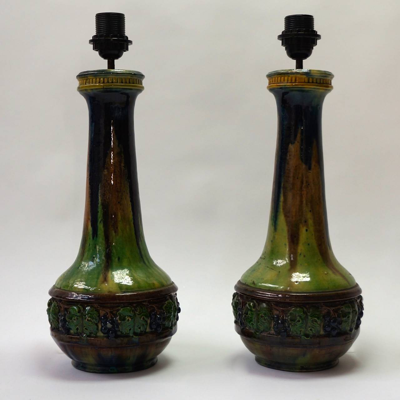 A pair of ceramic table lamps.