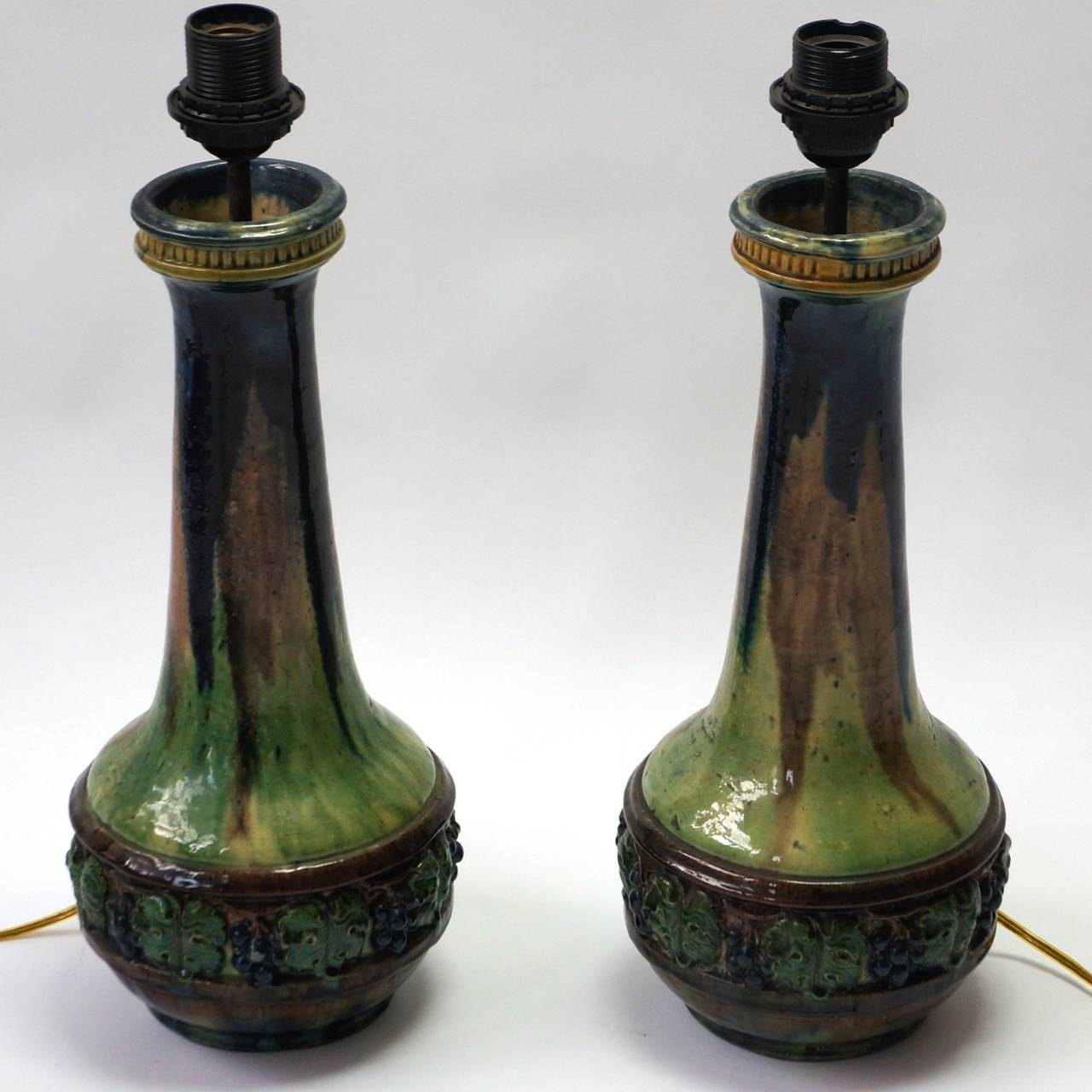 Belgian Pair of Ceramic Table Lamps For Sale