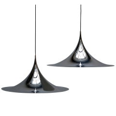 One of Two Huge Semi Pendal Ceiling Lights by Fog & Mørup