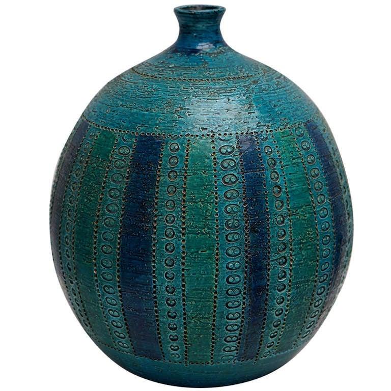 Bitossi Rimini Blue Vase Designed by Aldo Londi