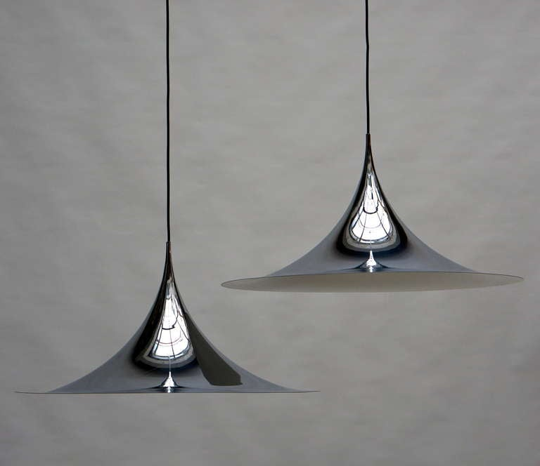 Mid-Century Modern One of Two Huge Semi Pendal Ceiling Lights by Fog & Mørup For Sale
