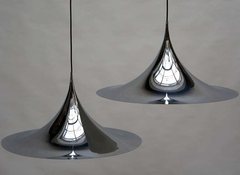 Danish One of Two Huge Semi Pendal Ceiling Lights by Fog & Mørup For Sale