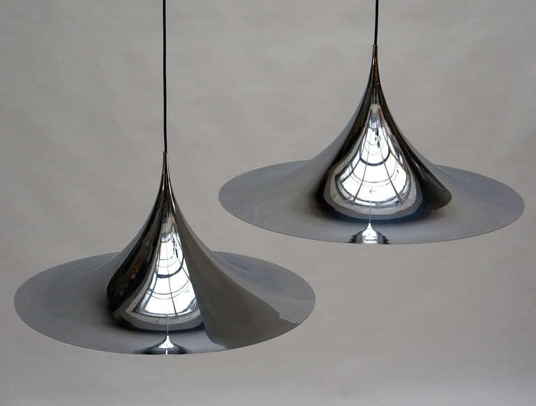 Polished One of Two Huge Semi Pendal Ceiling Lights by Fog & Mørup For Sale