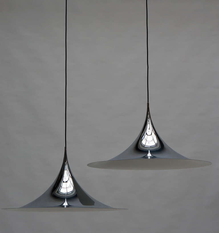 One of Two Huge Semi Pendal Ceiling Lights by Fog & Mørup In Good Condition For Sale In Antwerp, BE
