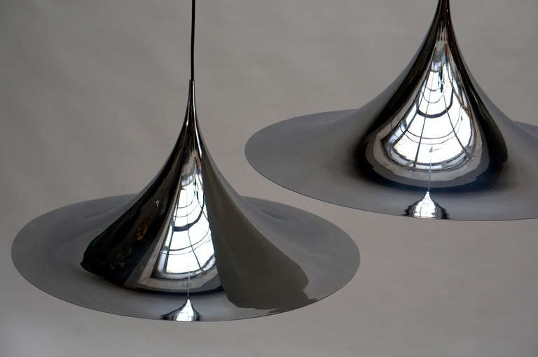 Metal One of Two Huge Semi Pendal Ceiling Lights by Fog & Mørup For Sale