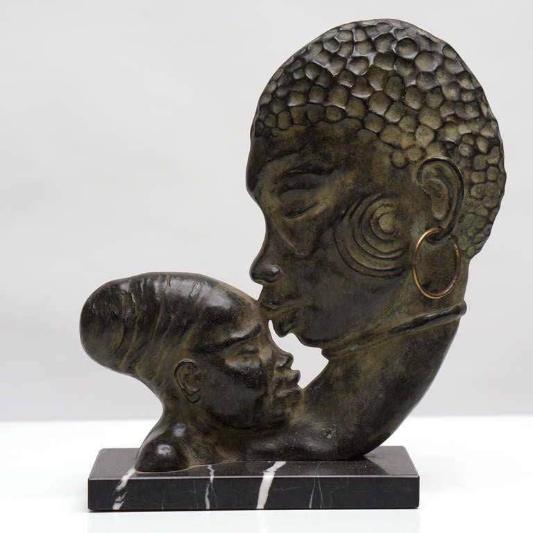 French Art Deco bronze sculpture on a marble base.