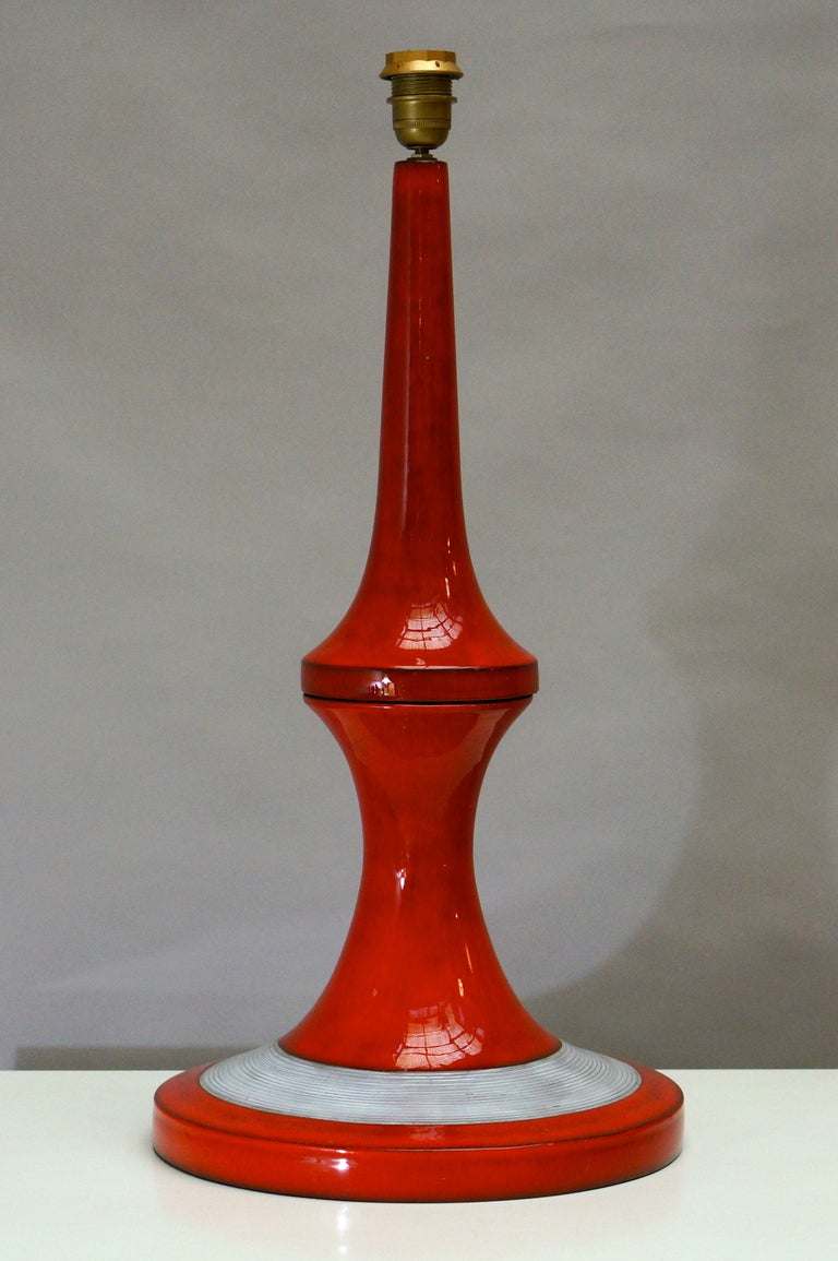 Tall 1960s Ceramic Table Lamp by Oswald Tieberghien In Excellent Condition For Sale In Antwerp, BE