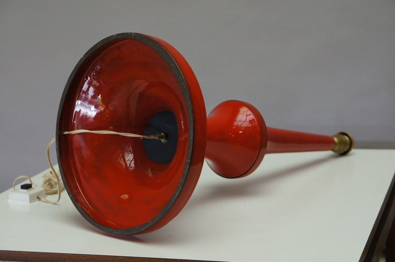 Belgian Tall 1960s Ceramic Table Lamp by Oswald Tieberghien For Sale