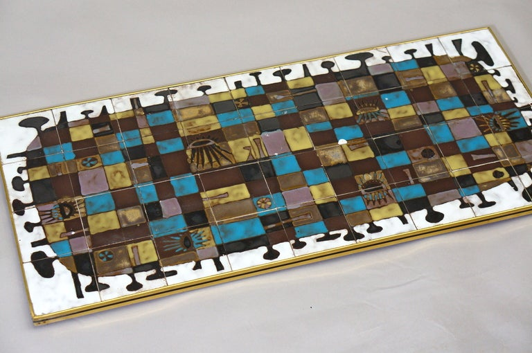 Belgian Abstract Ceramic Tile Wall Decoration by J Nolf For Sale