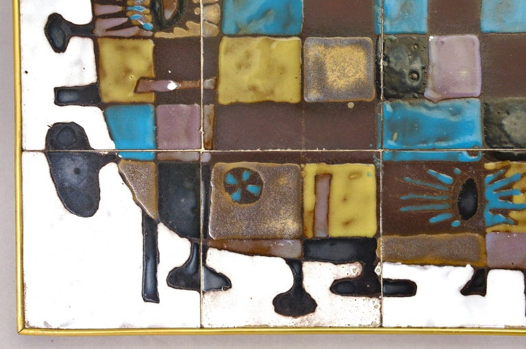 Abstract Ceramic Tile Wall Decoration by J Nolf In Good Condition For Sale In Antwerp, BE