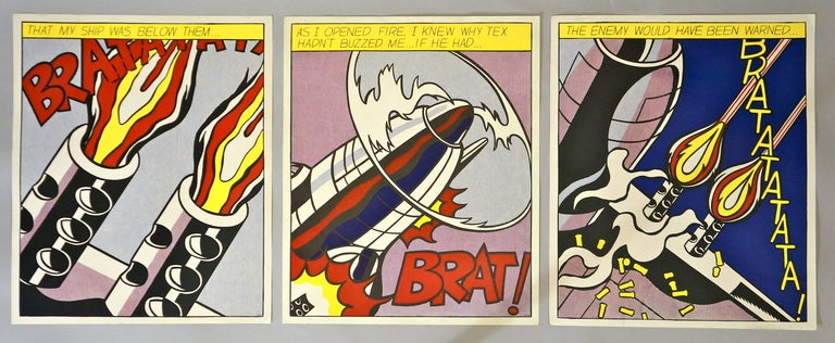 """""""As I Opened Fire"""" three prints after paintings of the same title by Pop icon artist Roy Lichtenstein.  Printed and copyright by the Stedelijk Museum of Amsterdam in 1964, one of several editions of 3,000-5,000 issued during 1964-1991."""