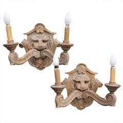 Pair of Carved Oak Victorian Wall Lights