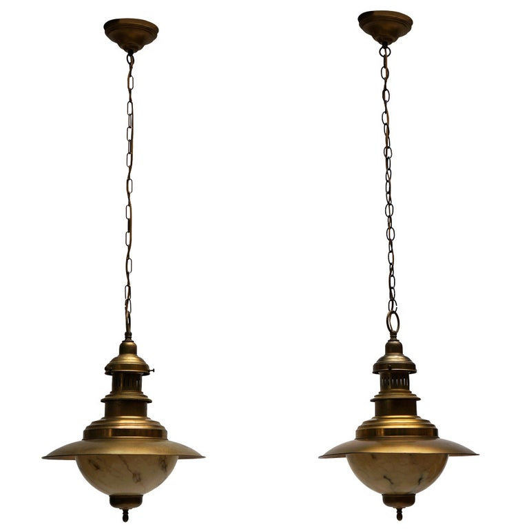 Pair of Brass Chandeliers For Sale