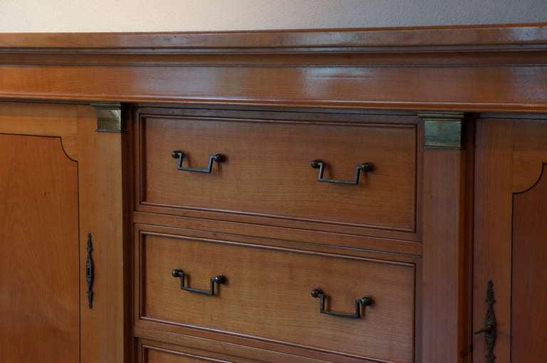 Belgian Fine Mid-Century Cherry Wood Sideboard  For Sale