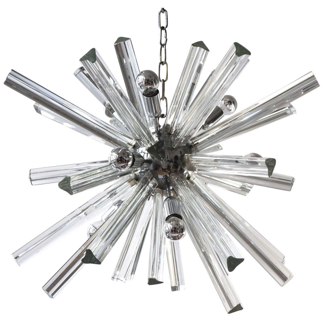 Mid-Century Modernist Murano Glass Rod Sputnik Chandelier