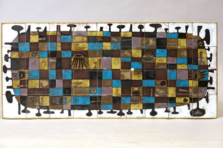 Beautiful 1950s abstract tile wall decoration by Jan Nolf (1931-1999) Belgium. This has been a table top.