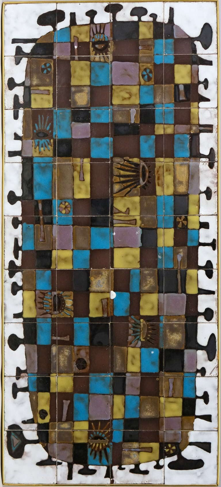 Mid-20th Century Abstract Ceramic Tile Wall Decoration by J Nolf For Sale