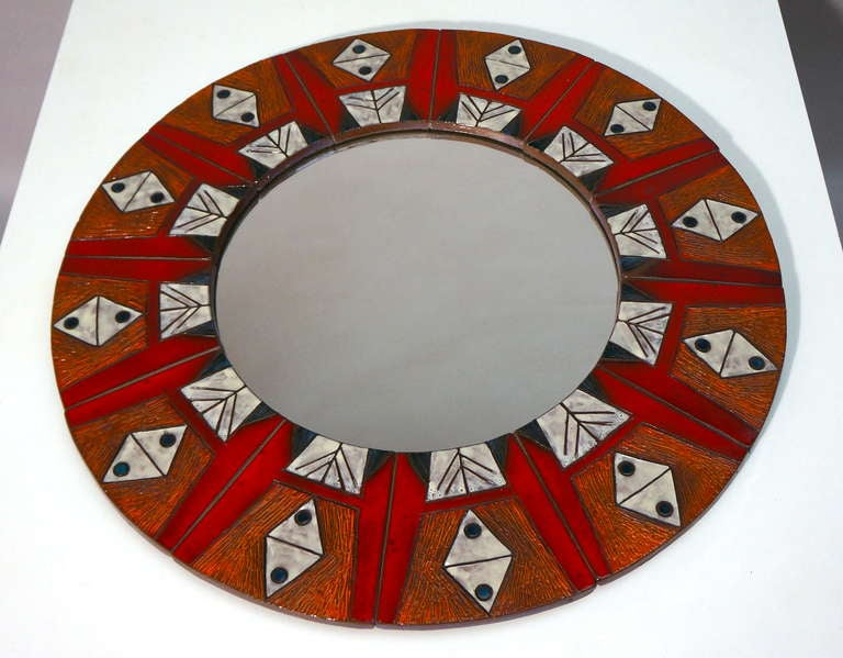 Mid-20th Century Ceramic Mirror By Oswald Tieberghien For Sale