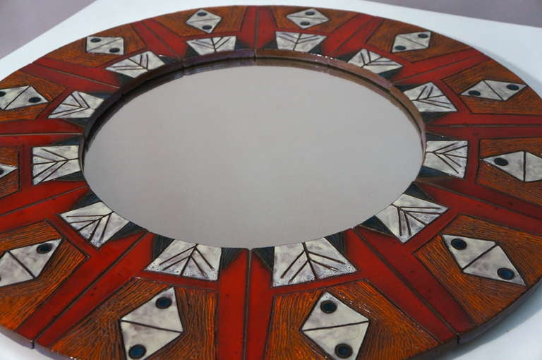 Mid-Century Modern Ceramic Mirror By Oswald Tieberghien For Sale