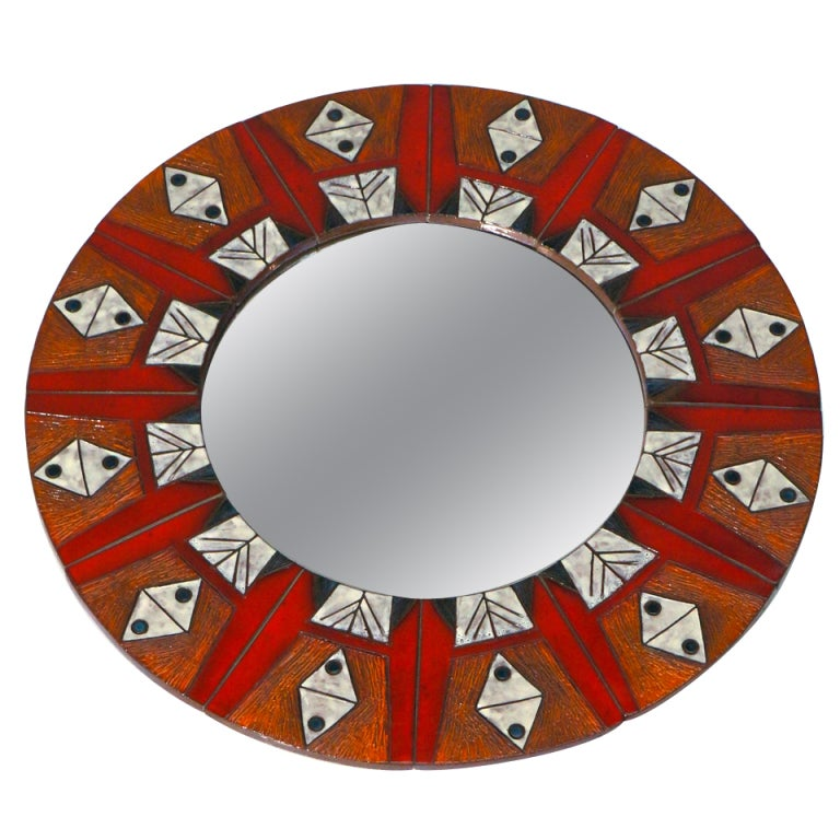 Ceramic Mirror By Oswald Tieberghien For Sale