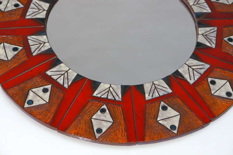 Ceramic Mirror By Oswald Tieberghien In Excellent Condition For Sale In Antwerp, BE