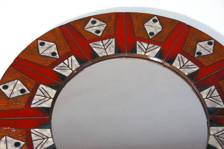 Ceramic Mirror By Oswald Tieberghien For Sale 1