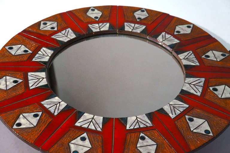 Ceramic Mirror By Oswald Tieberghien For Sale 2