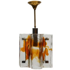 Mazzega Clear and Amber Curved Glass Tile Chandelier on Chrome Frame