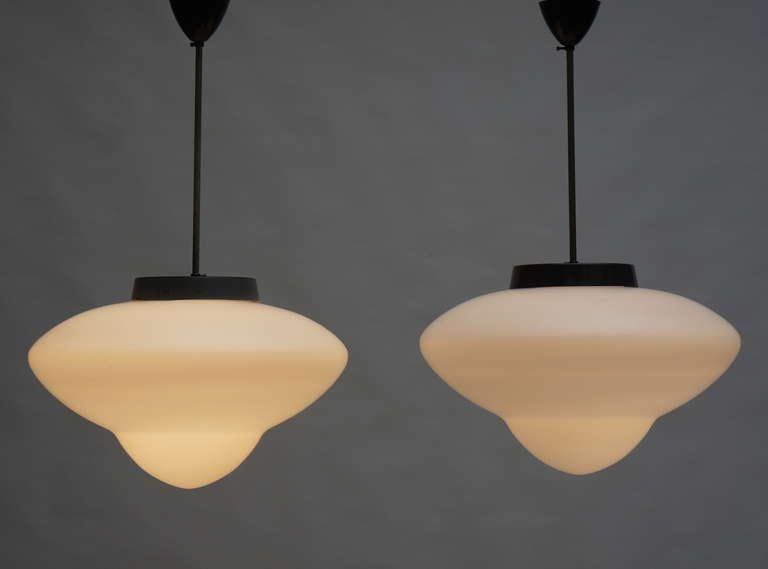 One Industrial chandeliers by Gispen. 3 lights are sold.
