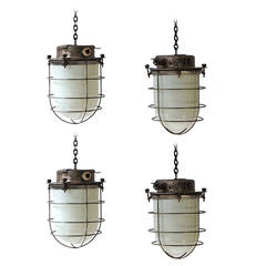 Four Vintage Industrial Hanging Lamps