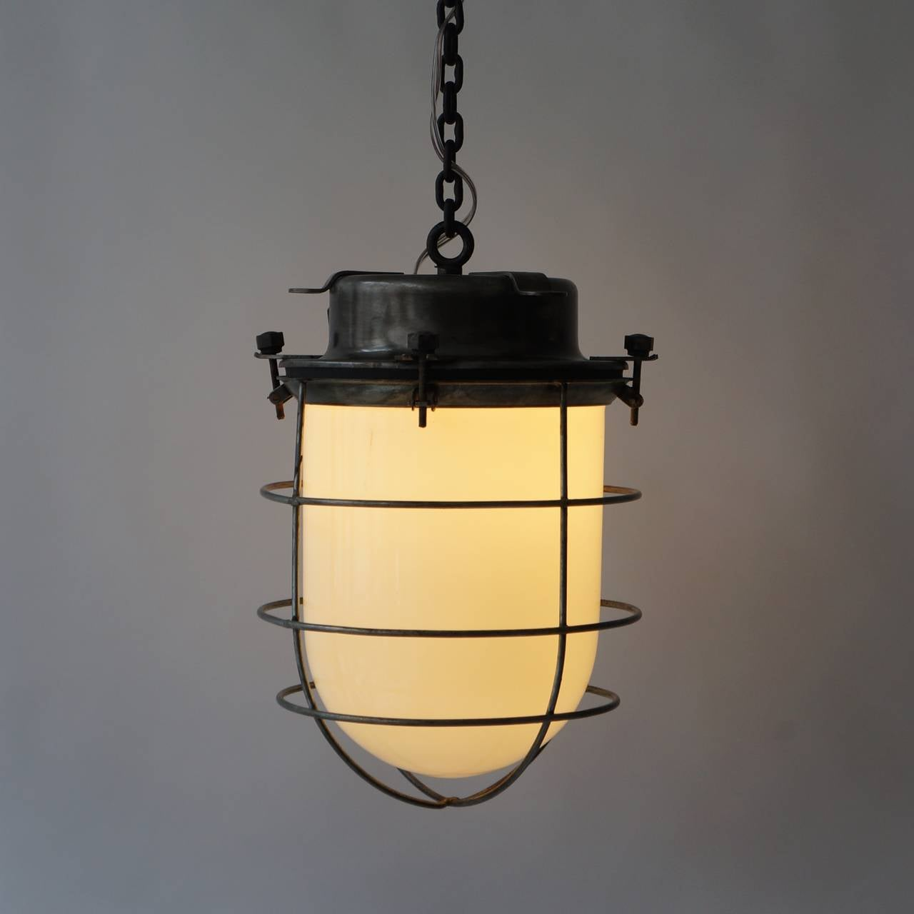 20th Century Four Vintage Industrial Hanging Lamps For Sale