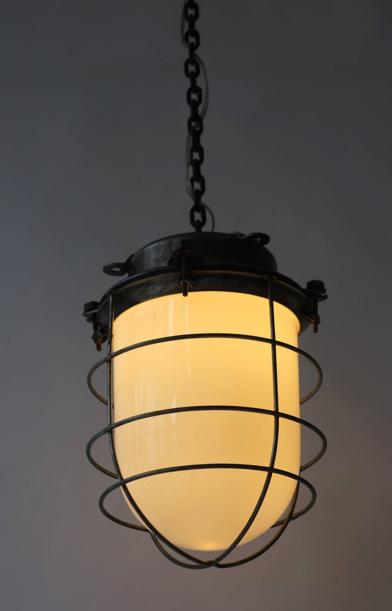 Metal Four Vintage Industrial Hanging Lamps For Sale