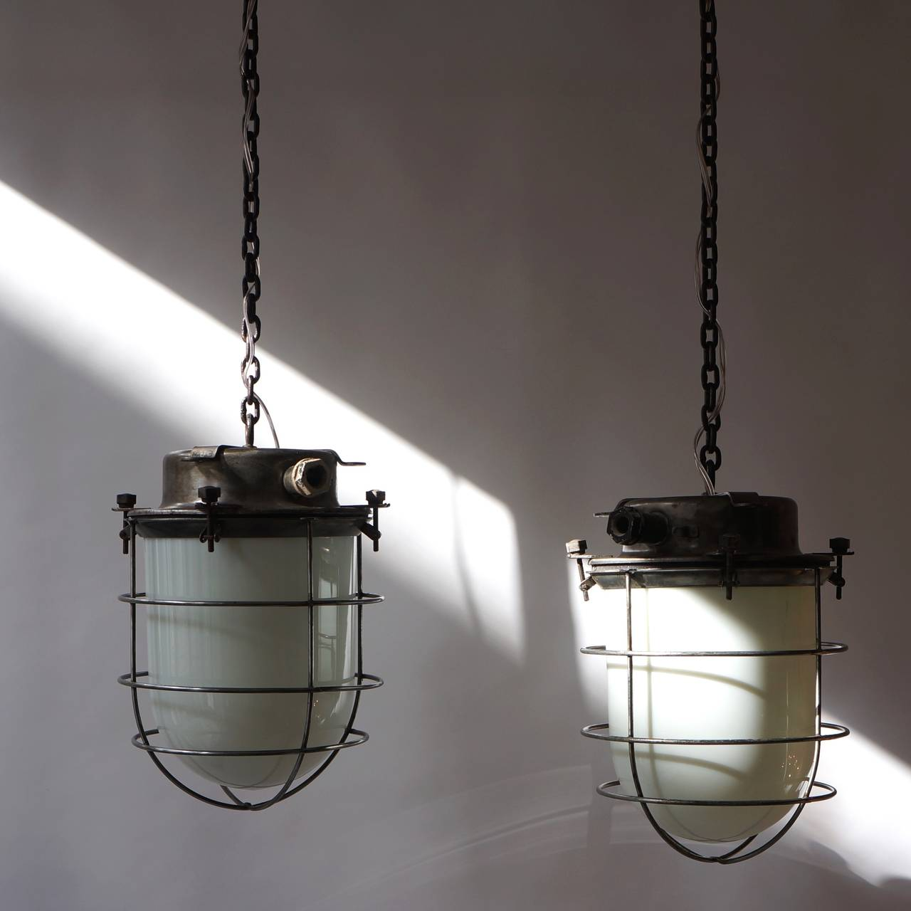 Mid-Century Modern Four Vintage Industrial Hanging Lamps For Sale