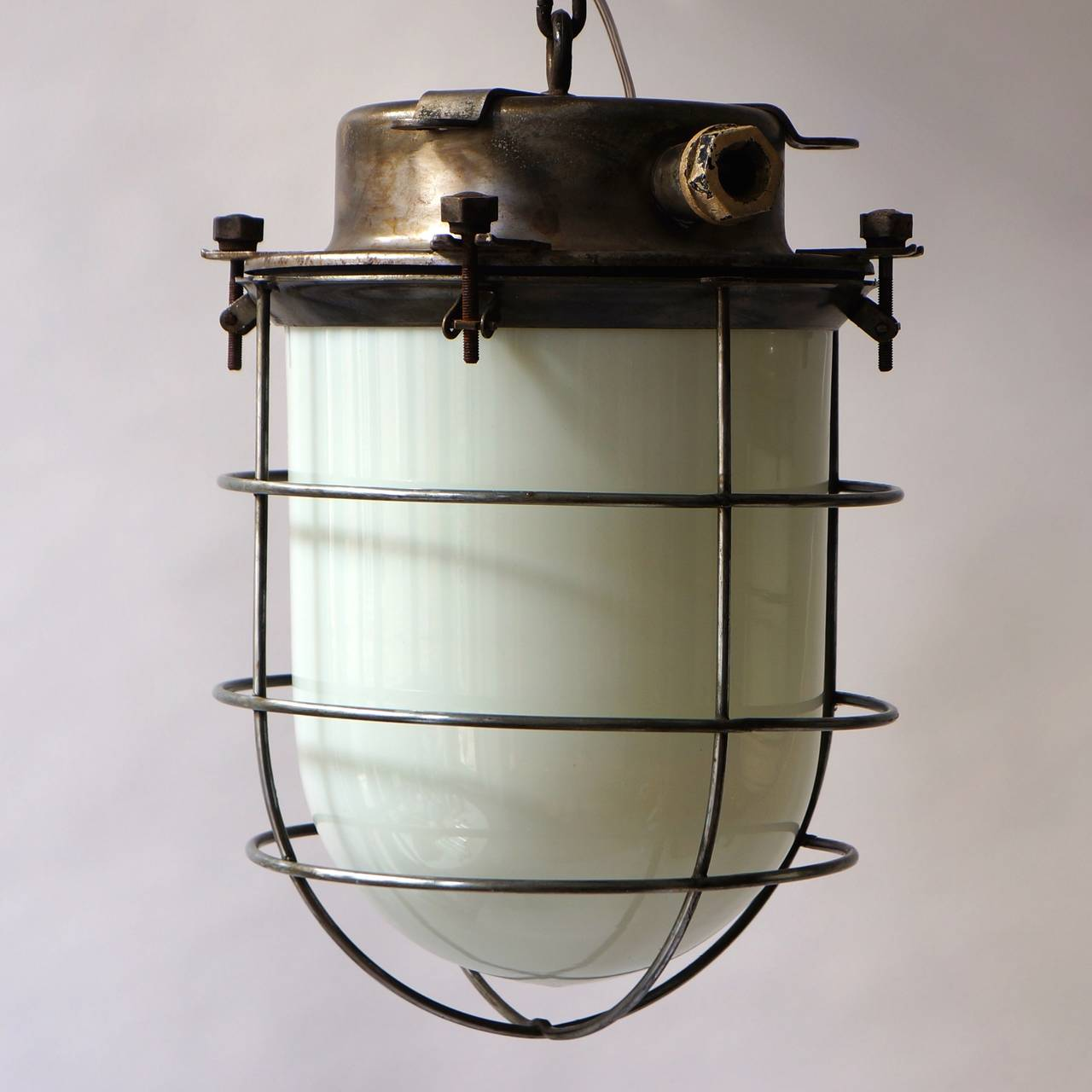 Four Vintage Industrial Hanging Lamps For Sale 1