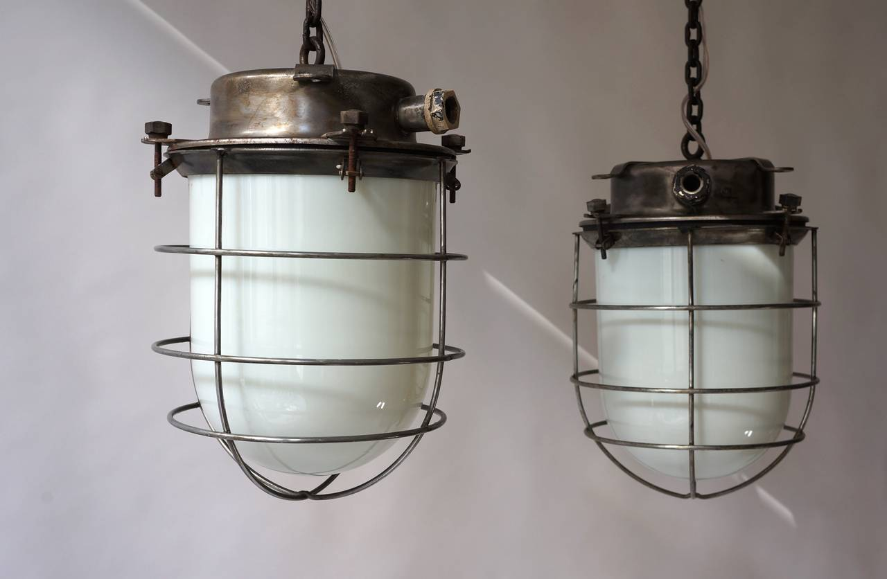 Four Vintage Industrial Hanging Lamps For Sale 2