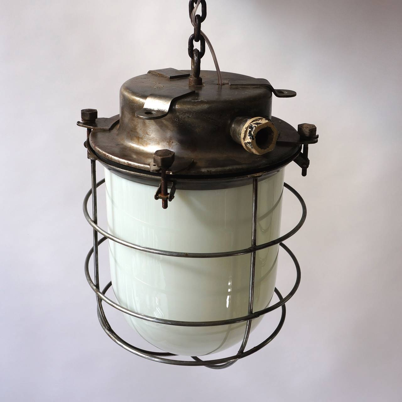 Four Vintage Industrial Hanging Lamps For Sale 3