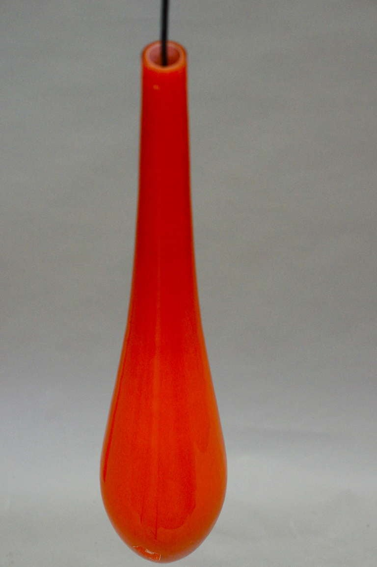 Italian Orange Murano Glass Pendant Light by Vistosi For Sale