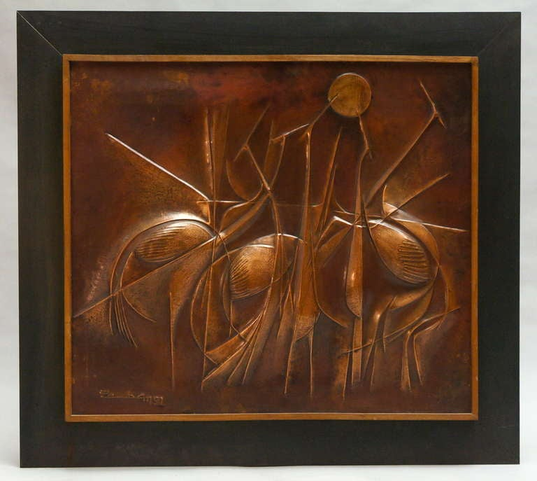 Congolese Copper Panel Artwork by Pemba For Sale