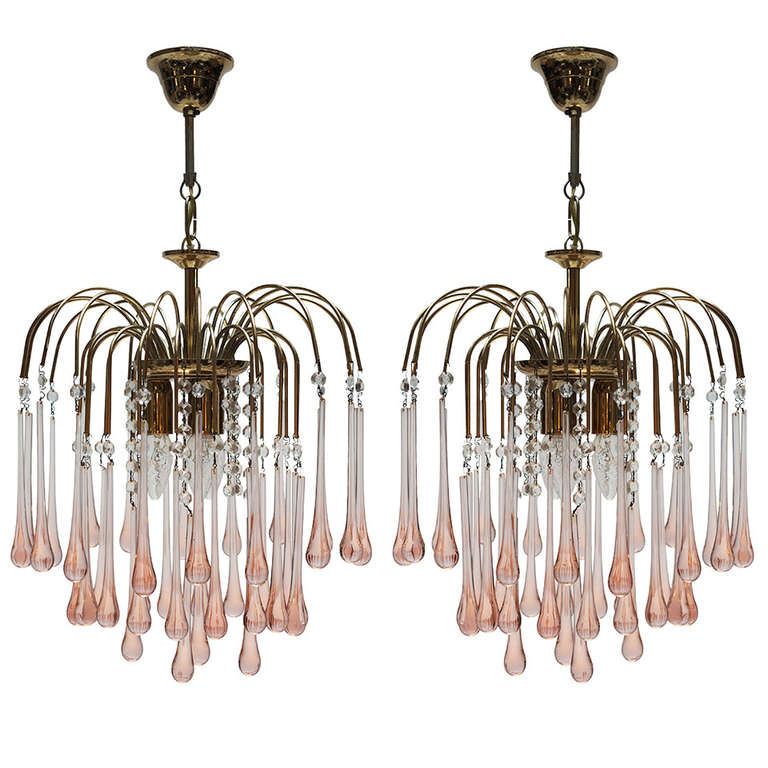 Pair of Italian Venini Teardrop Chandeliers