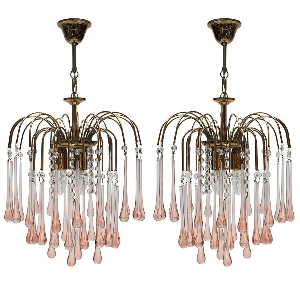 One Italian Brass and Murano Glass Teardrop Chandelier