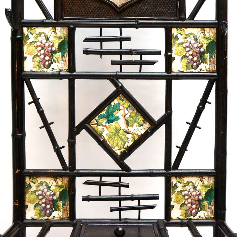 French Late 19th Century Bamboo Coat Stand with Mirror and Ceramic Tiles For Sale