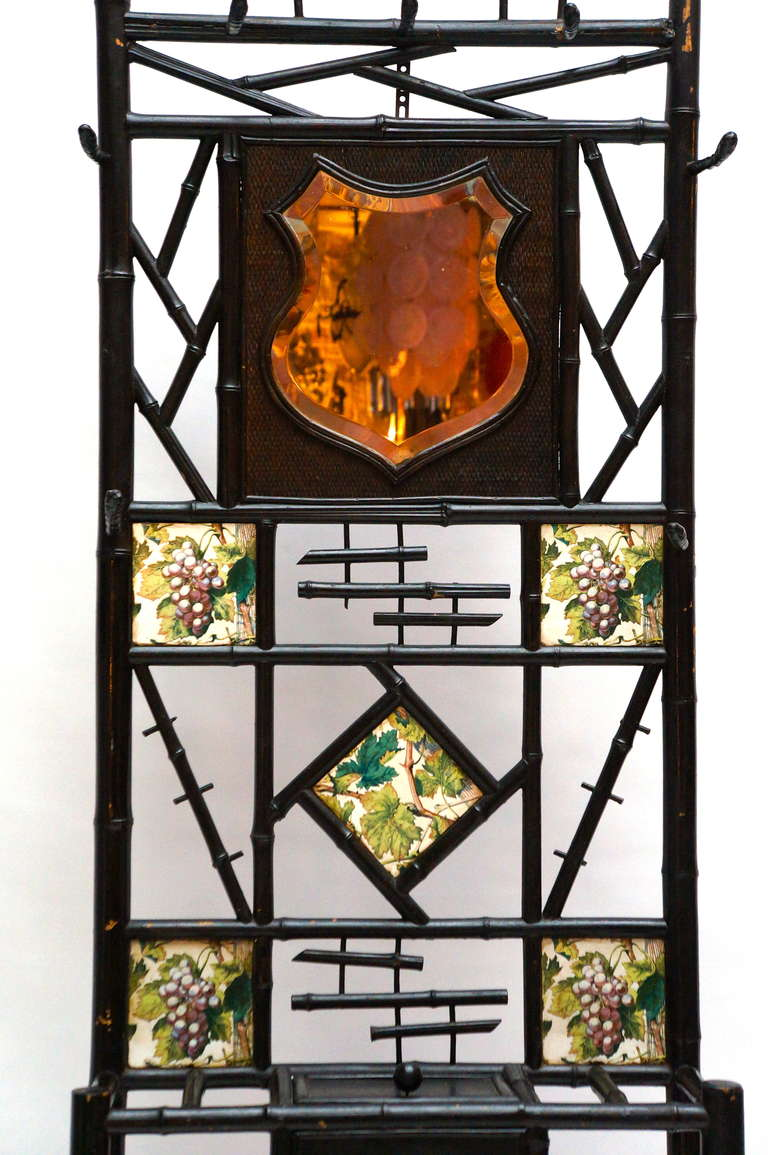 Country Late 19th Century Bamboo Coat Stand with Mirror and Ceramic Tiles For Sale