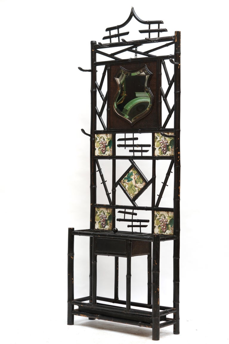Late 19th Century Bamboo Coat Stand with Mirror and Ceramic Tiles For Sale