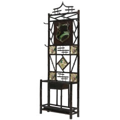 Late 19th Century Bamboo Coat Stand with Mirror and Ceramic Tiles